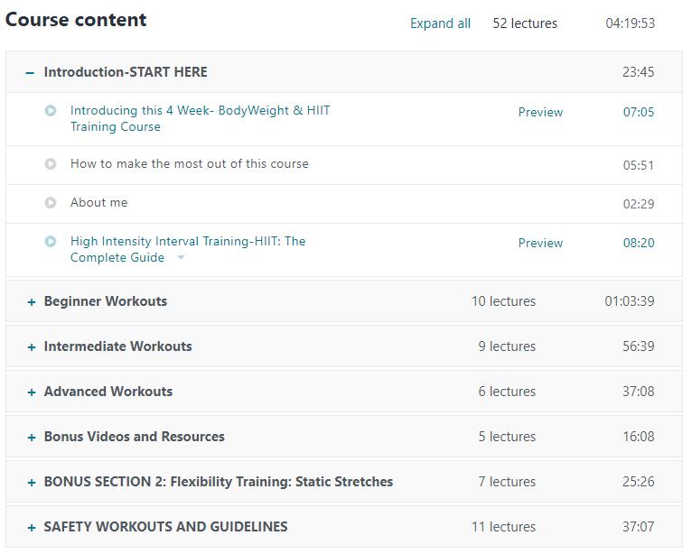 Udemy Course Content