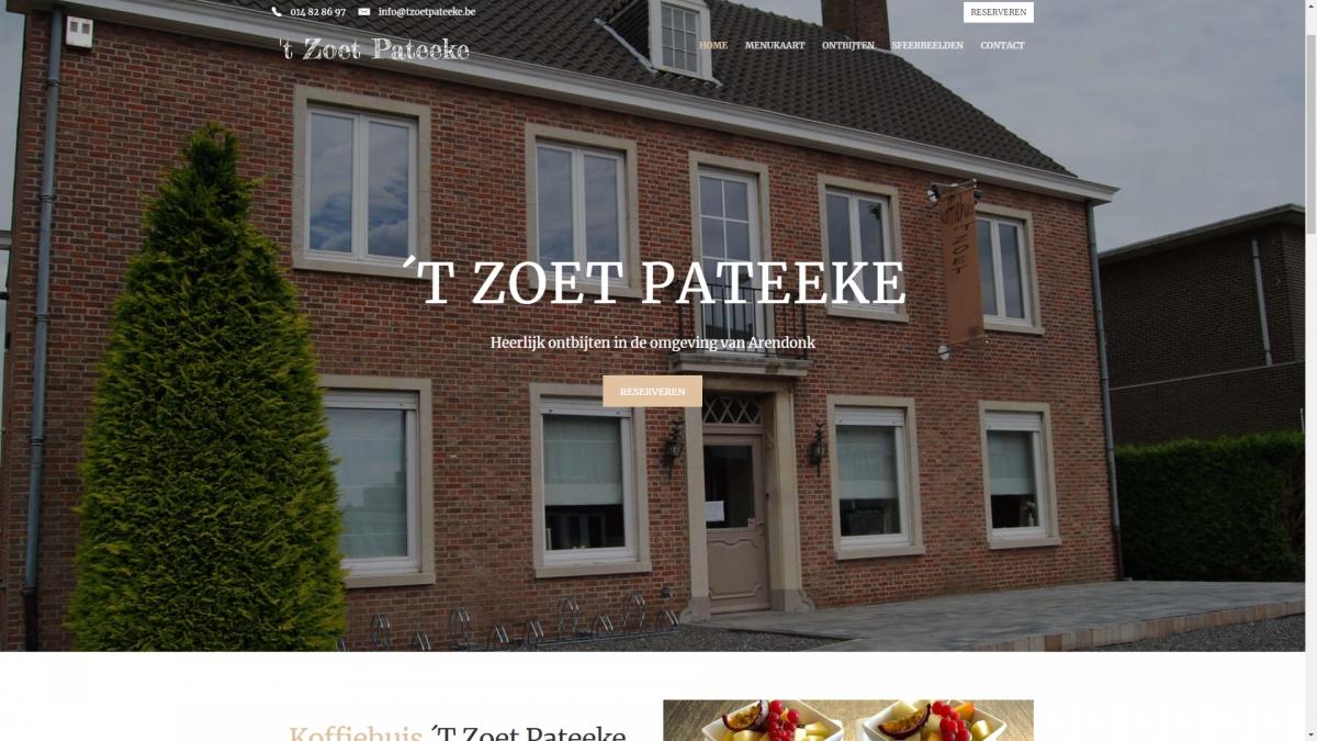 Restaurant website voor 't Zoet Pateeke