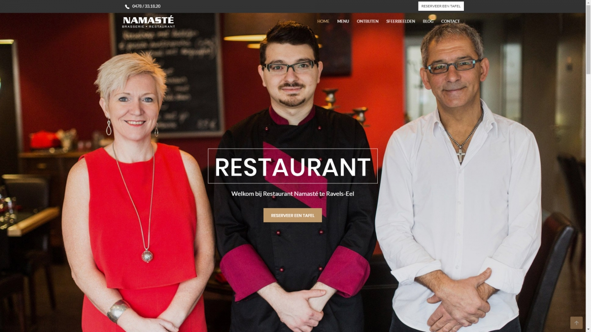 Restaurant website voor Namasté