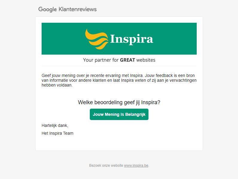 Email versturen om Google Klantenreviews te verzamelen