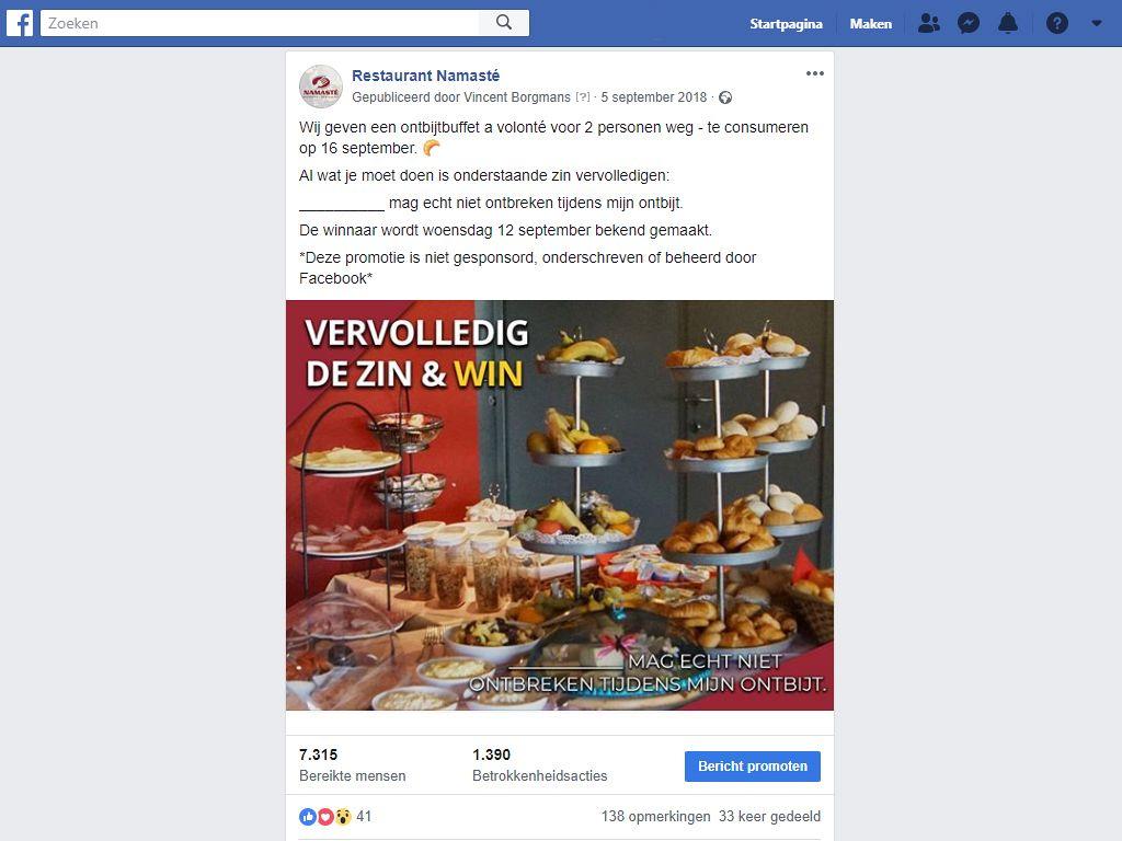 Wedstrijd organiseren restaurant facebook